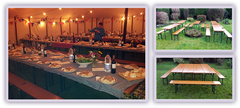 Party Bench hire, furniture hire for Events, Bristol & the South West